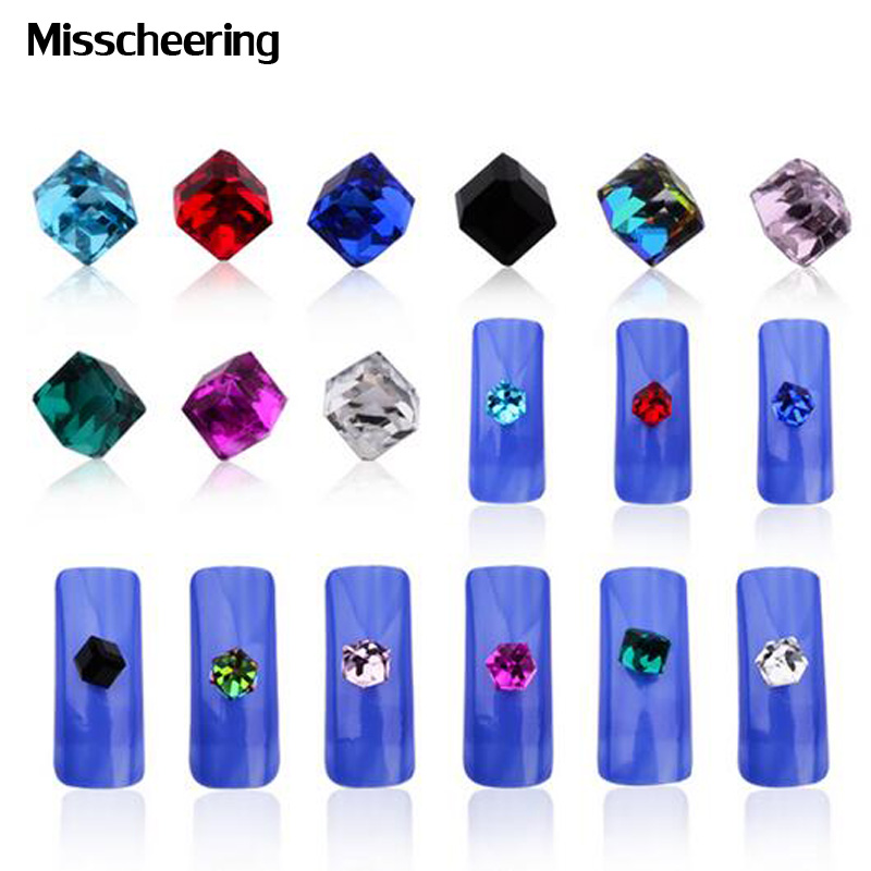 20pcs/pack Glitter Crystal AB Rhinestone Cube Square Glass Micro Beads Nail Stone 4mm DIY Beauty 3d Nail Art Decortions 1 pack micro bead rhinestone crystal pixie caviar beads mini nail art decorations tiny 3d ab glitter rhinestones diy manicure