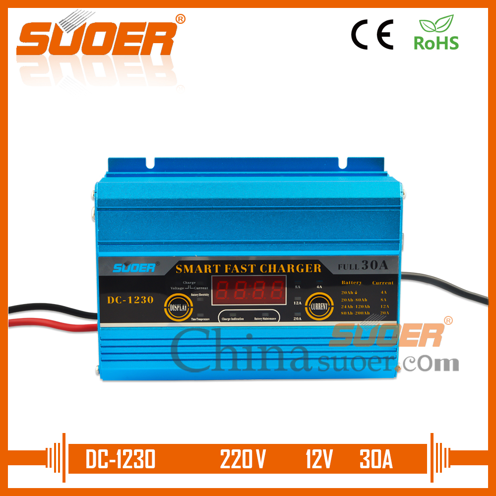 Suoer Intelligent Digital Display Fast Battery Charger 12V 30A Universal Auto Battery Charger(DC-1230A)Suoer Intelligent Digital Display Fast Battery Charger 12V 30A Universal Auto Battery Charger(DC-1230A)