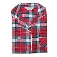 섹시한 붉은 격자 무늬 100% 닦았 코튼 잠옷 세트 여성 가을 플러스 사이즈 여성 긴 소매 잠옷 여성 homewear sleepwear