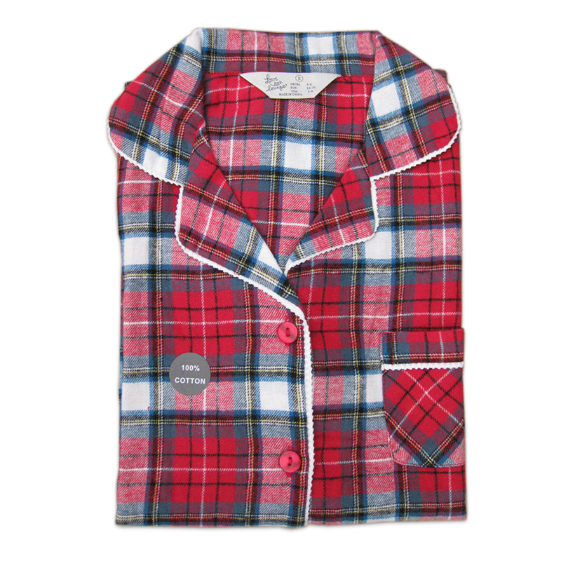 Sexy Red plaid quality 100% brushed cotton autumn plus size female   pajama     sets   women Long sleeve pyjamas for women home wear