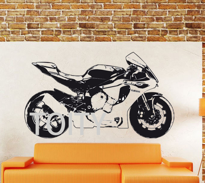 YAMAHA R1 Motorbike Creative Dirt Bike MotorCycle Home Vinyl Wall Sticker  Motor Racing Removable Wall Decal Bedroom Decor Mural