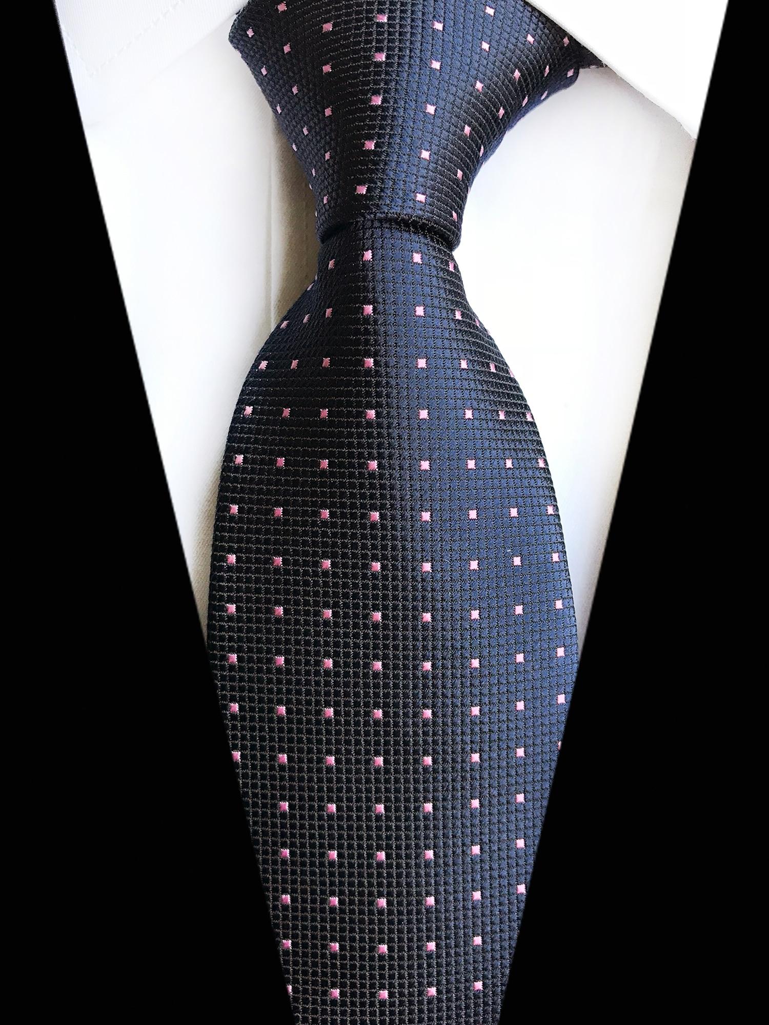 8CM Classy Men Woven Tie Male Gentlemen Fashion Blue Necktie With Pink Dots Cravat