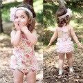 Lace Backless Bodysuits Infantis Instock Atacado Verão Rosa Alegre Drape Bebê Bodysuits Meninas Halter Pescoço Roupas