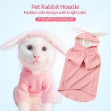 Fashion Pet Cat Rabbit Hoodie with Cute Bunny Ears Hood Dog Transform Clothes Cotton Warm Sweater Coat Jacket for Small Cat Dog plus size cat print hoodie with ears
