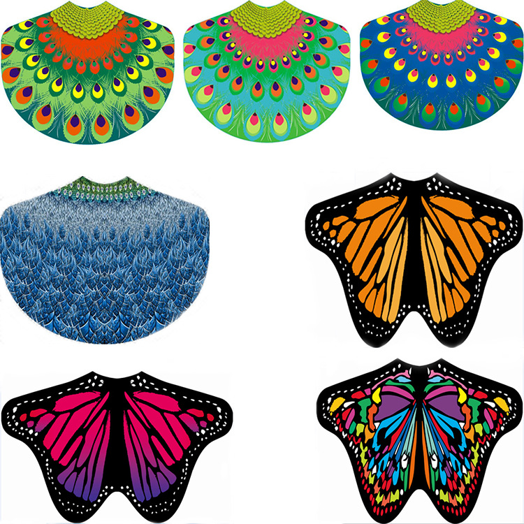 2018 new Chiffon summer shawl butterfly print 185*140 beach towel beach mat shawl