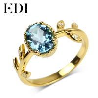 EDI Trendy 6 8mm Natural Blue Topaz 925 Sterling Silver Wedding Ring For Women Yellow Gold