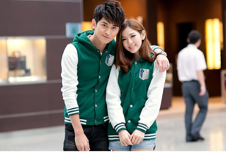 Unisex Couples Green Hoodie Baseball Coat Attack on Titan Uniform Anime Cosplay