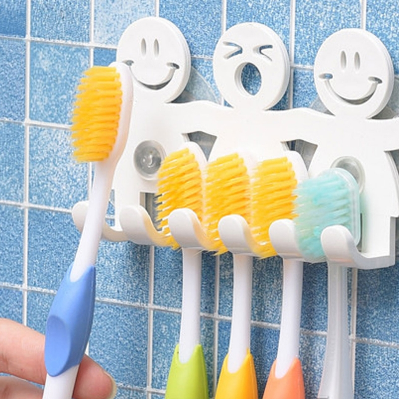 1PC Cartoon Toothbrush Holder Wall Mounted Suction Cup 5 Position Cute Smile Shaped Home Bathroom Supplies image