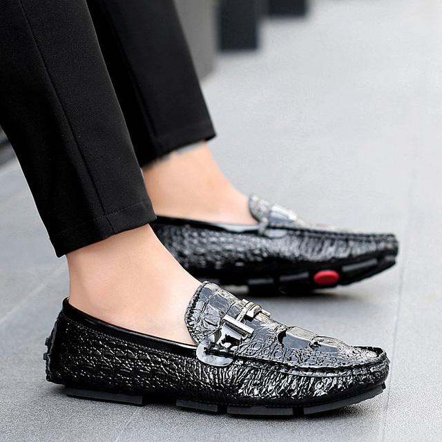 High Quality Crocodile Grain Moccasins Men's Shoe