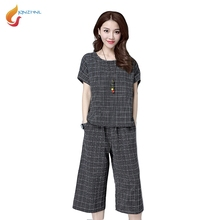JQNZHNL 2017 New Summer Women Sets Short Sleeved Shirts+Wide Leg Pants Suit Sets Two-pieces Tracksuit Casual Sporting Suit L386