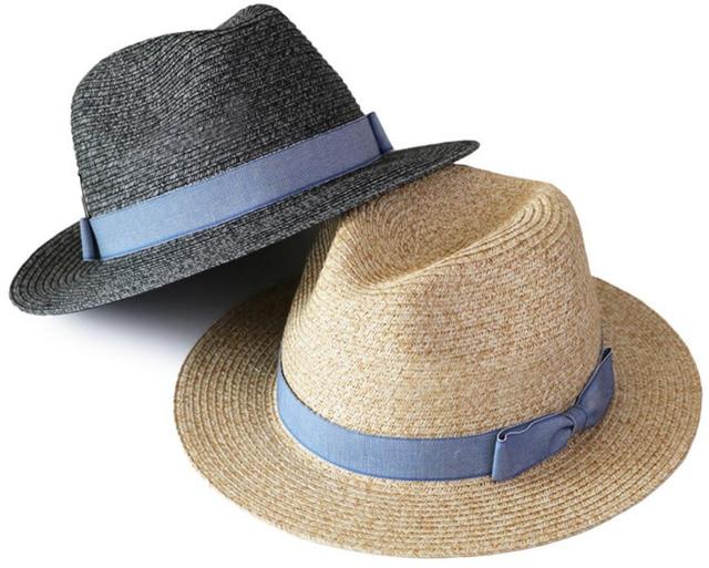 6pcs Brand XL 61cm Men Panama Hat Paper Braid Straw Fedora Hats Women  Summer Beach Sun Caps Women Straw Fedoras Cap Wholesale dd8516602ab