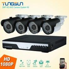 Nueva 2MP HD de 4 Canales de 1080 P Cámara de Vigilancia En Casa de Metal negro Bala Impermeable Al Aire Libre Sistema de Cámaras de Seguridad DVR de $ NUMBER CANALES kit