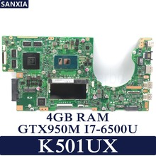 KEFU K501UX Laptop motherboard for ASUS K501UX K501UB K501U K501 Test original mainboard DDR3 4G RAM I7-6500U GTX950M EDP
