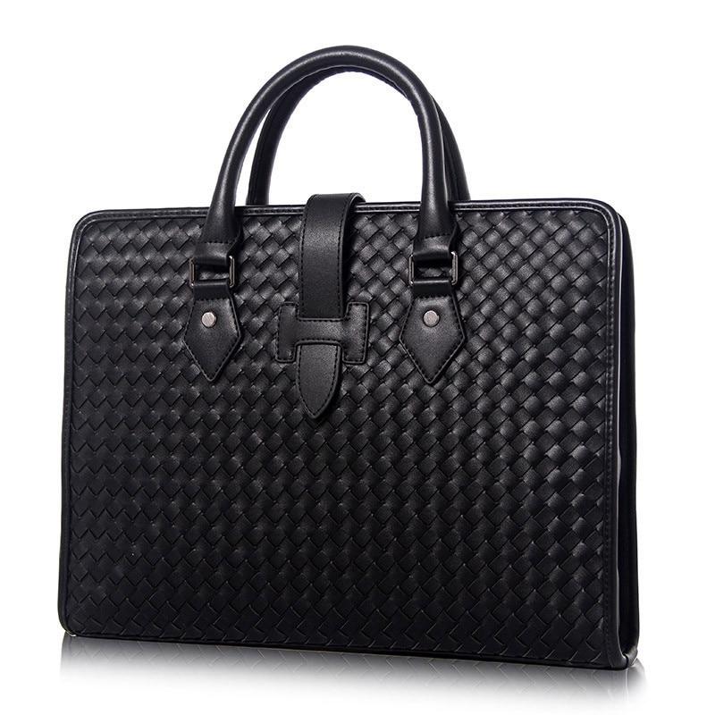 100% Genuine Leather Men's Briefcase Luxury Male Weave Handbag High Quality Real Leather Bag Messenger Bag For Gentlemen Fashion
