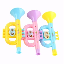 Colorful Children'S Blowable Trumpet Trumpet Instrument Musical Toy Random Color Pattern blue color trumpet glass fiber steel case trumpet case or box