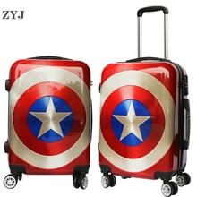 "ZYJ Дети Мультфильм Капитан Америка путешествия багаж на колёсиках Девушки Мужчины Женщины чемодан Carry On 2"" 24"" дюймов самолет-тележка багаж"