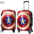 ZYJ Kids Cartoon Captain America Reizen Rollende Bagage Meisjes Mannen Vrouwen Koffer Carry Op 20