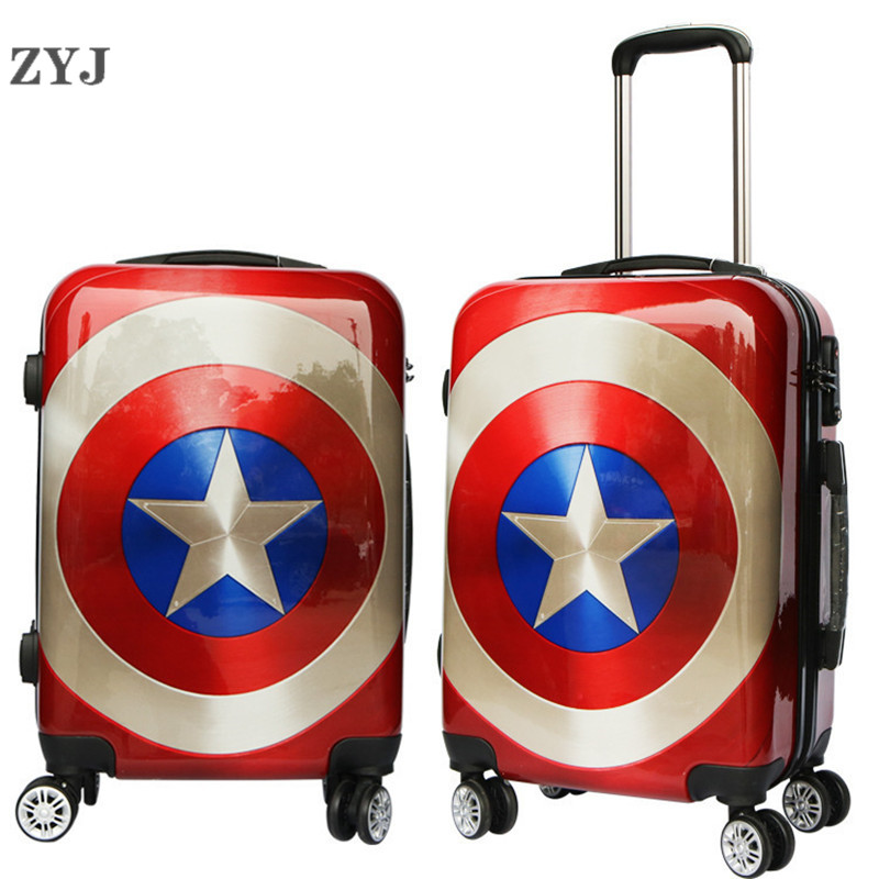 ZYJ Kids Cartoon Captain America Travel Rolling Luggage Girls Men Women Suitcase Carry On 20 24 Inch Airplane Trolley LuggageZYJ Kids Cartoon Captain America Travel Rolling Luggage Girls Men Women Suitcase Carry On 20 24 Inch Airplane Trolley Luggage