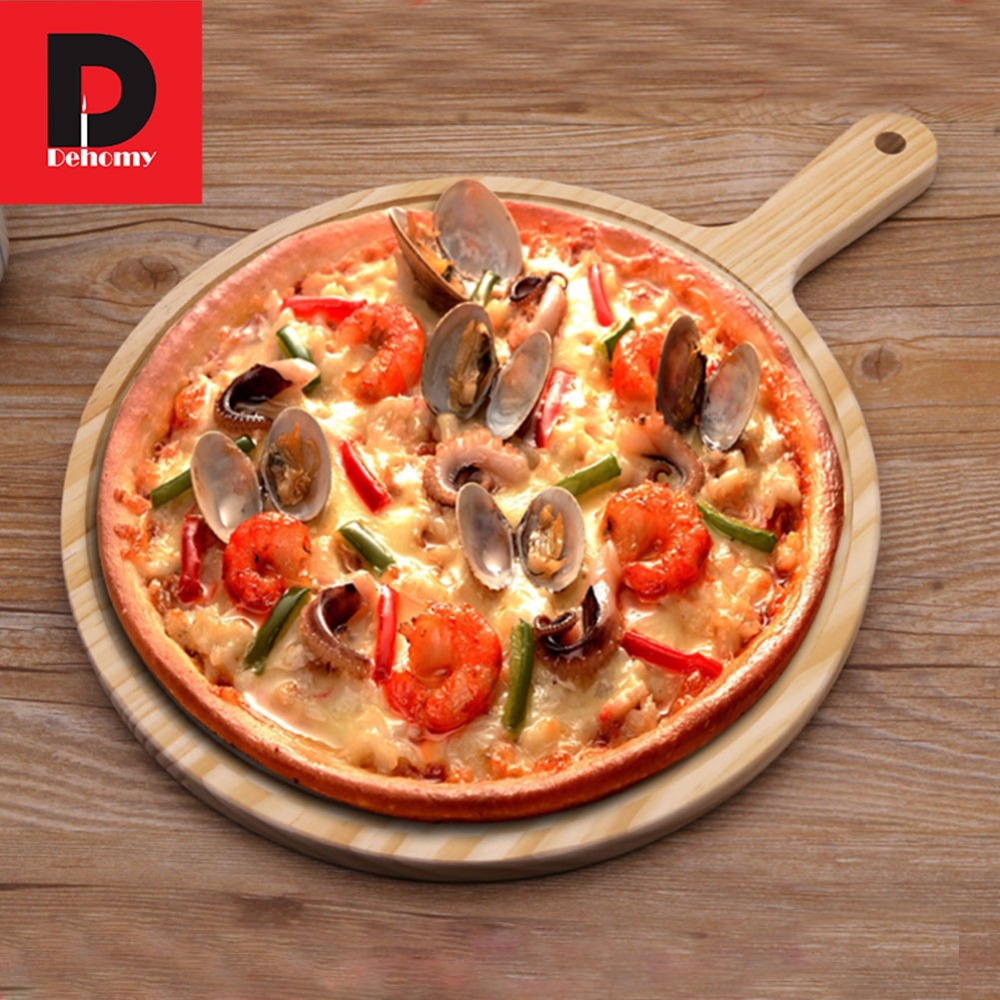 Wooden Round Pizza Tray with Handle Zebra Wood Pizza Plate Cutting ...