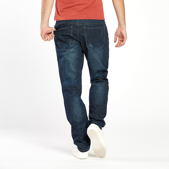 Drizzte Men Jeans Plus Size 28 to 46 Trendy Taper Stretch Relax Jeans Blue Denim Jean Trousers Pants