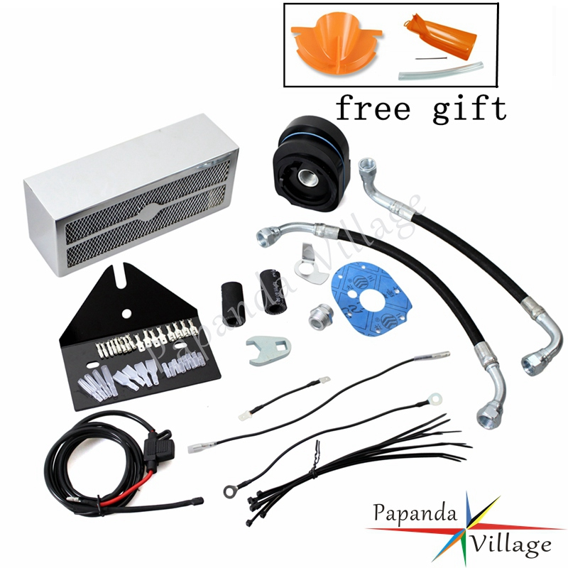 Papanda Chrome Motorcycles Complete Reefer Oil Cooler Fan Cooling System for Harley Dyna 1993-2017