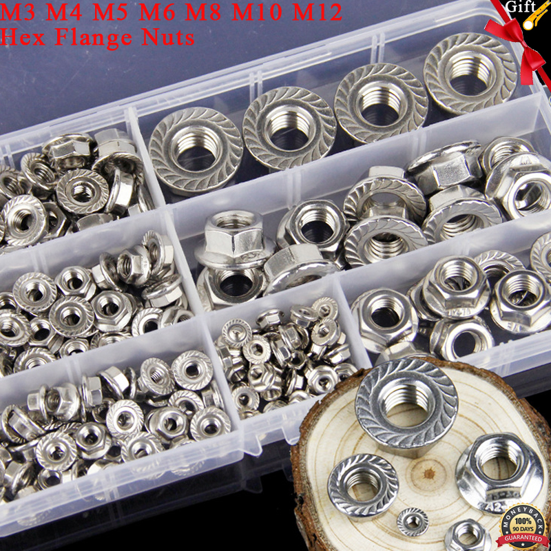 200/PCS M3/M4/M5/M6/M8/M10/Flansch Muttern Sortiment Kit