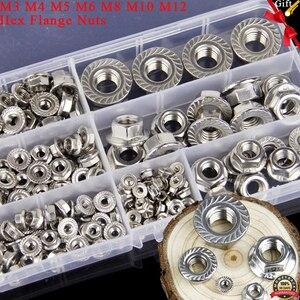 174 шт. Метрическая резьба M3 M4 m5 m6 m8 m10 m12 шестигранный фланец гайки Ассортимент Комплект 304 нержавеющая сталь DIN6923