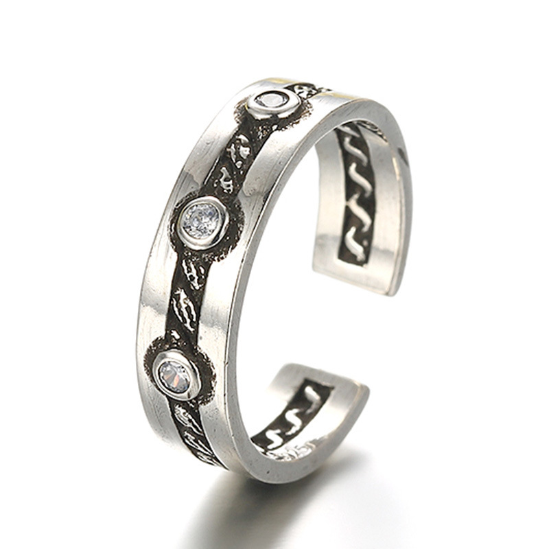 Europe and America Style Antique Silver Plated Hot Sale High Quality Zircon Opening Rings For Women Jewelry Gift wholesale E0799
