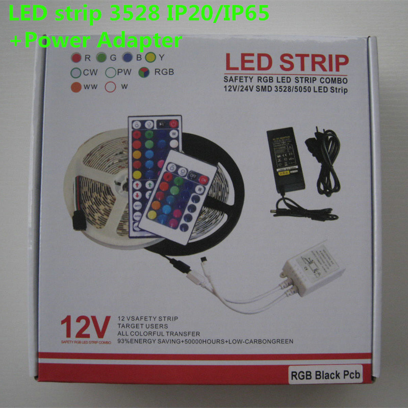 5m 3528 LED strip light RGB tape diode 300leds non waterproof and waterproof+RGB remote controller RGB