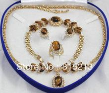 8cb9a6920ae Envío libre ddh0455 Tigre ojo piedra collar pendiente anillo conjunto de oro  de color
