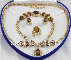 free shipping ddh0455 Tiger Eye Stone necklace bracelet earring ring set gold colour new men bracelet 8mm tiger eye stone