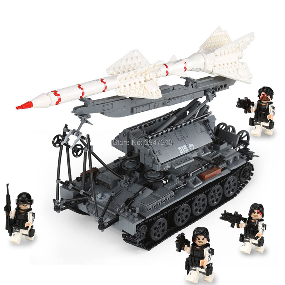 LegoINGlys military WW2 army war SA-2 tank Tracking missile Launch vehicles Building Blocks mini soldier figures brick toys gift huosooyun 17
