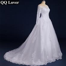 QQ Lover кружевное свадебное платье с вырезом лодочкой и длинными рукавами размера плюс на заказ Vestido De Noiva