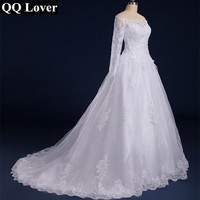 QQ Lover 2016 Boat Neck Long Sleeves Lace Wedding Dress With Real Pictures Plus Size Custom