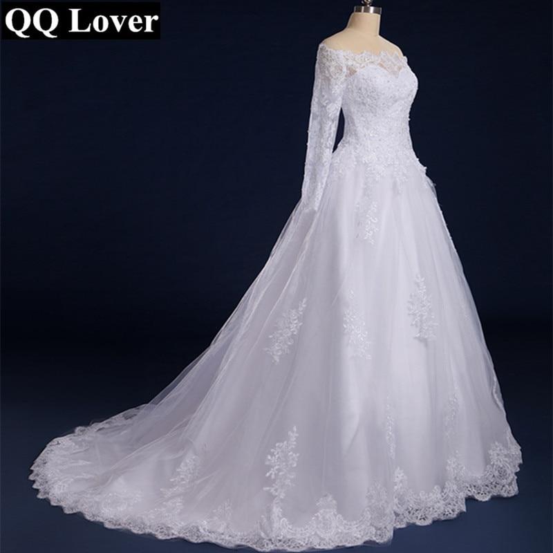 QQ Lover 2019 Boat Neck Long Sleeves Lace Wedding Dress Plus Size Custom-Made Vestido De Noiva 2019