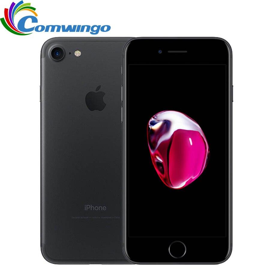 Разблокированный Apple iphone 7 32/128 ГБ/256 ГБ IOS 10 12.0MP 4G Камера Quad-Core отпечатков пальцев 12MP 2910mA iphone 7 LTE сотовый телефон