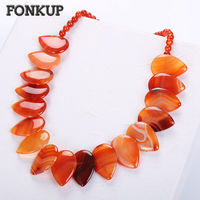 Fonkup Red Agate Necklace Natural Gem Pendant Leaf Chains Bead Stone Jewellery Ethnic Women Ornaments Handmade Multilayer Beaded
