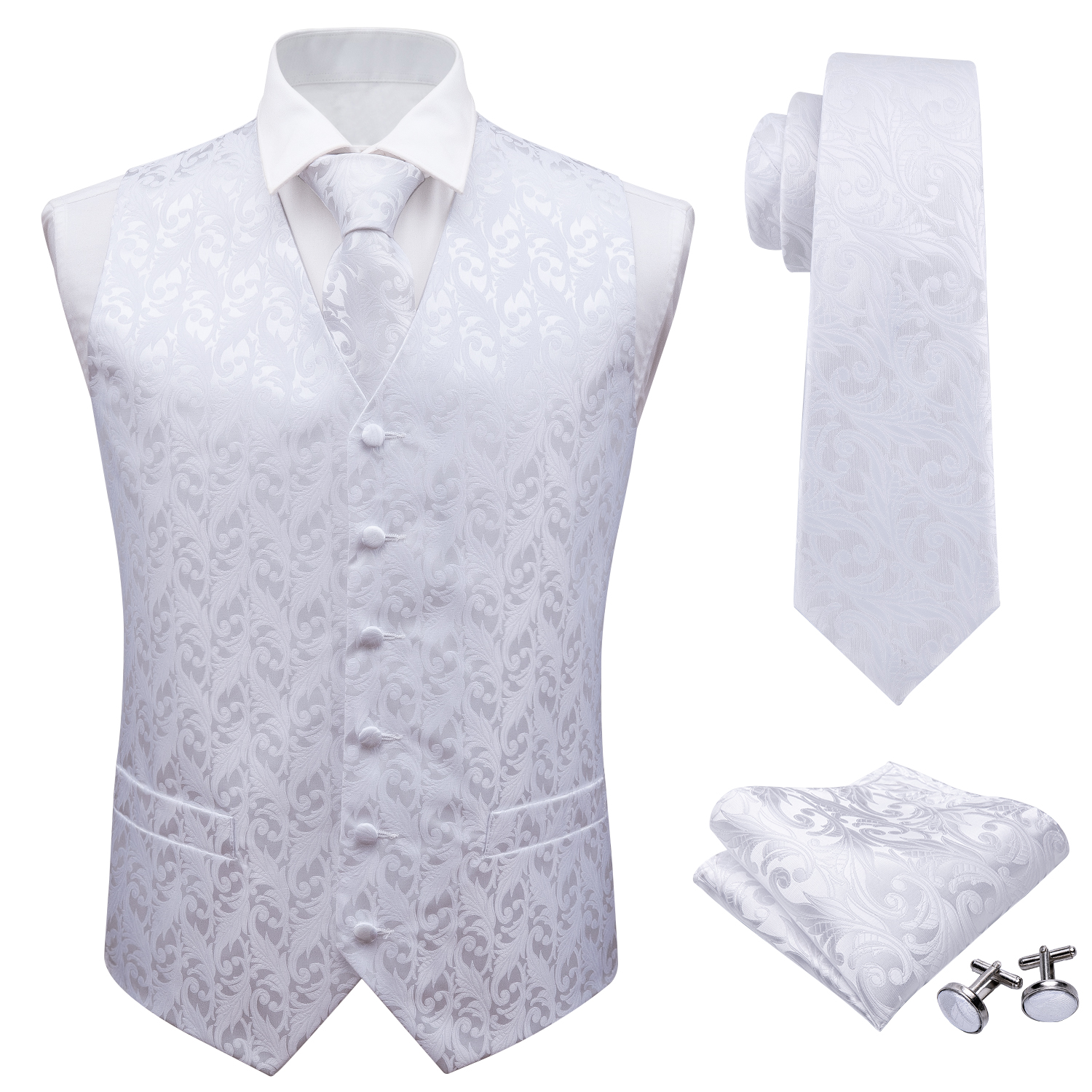 Barry.Wang Mens Classic White Floral Jacquard Silk Waistcoat Vests Handkerchief Party Wedding Tie Vest Suit Pocket Square Set