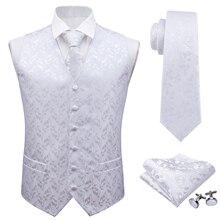 Barry.Wang Mens Classic White Floral Jacquard Silk Waistcoat Vests Handkerchief Party Wedding Tie Vest Suit Pocket Square Set