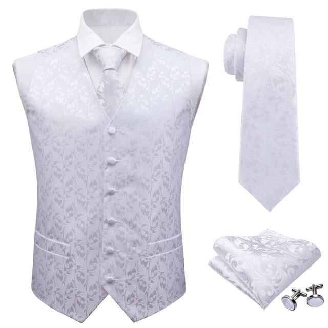 Barry.Wang Mens Klassieke Witte Bloemen Jacquard Zijde Vest Vesten Zakdoek Party Bruiloft Tie Vest Suit Pocket Plein Set