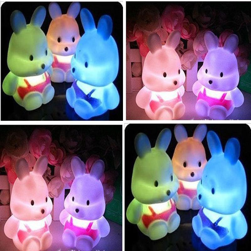 Hot Sale LED Night Light Rabbit Shape Home Bedroom Desktop Decor Colorful Gradient LED Night Light Decoration Bedside Lamp