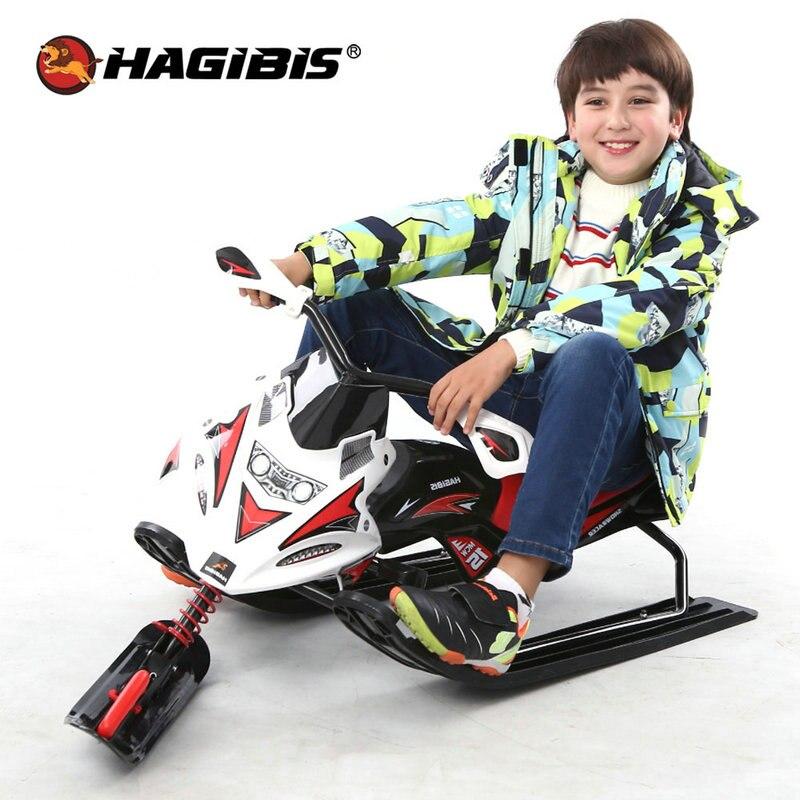 HAGIBISnow trottinette avec frein de sécurité motoneige traîneau à neige avec système de laisse de remorquage rétractable automatique Moto à neige