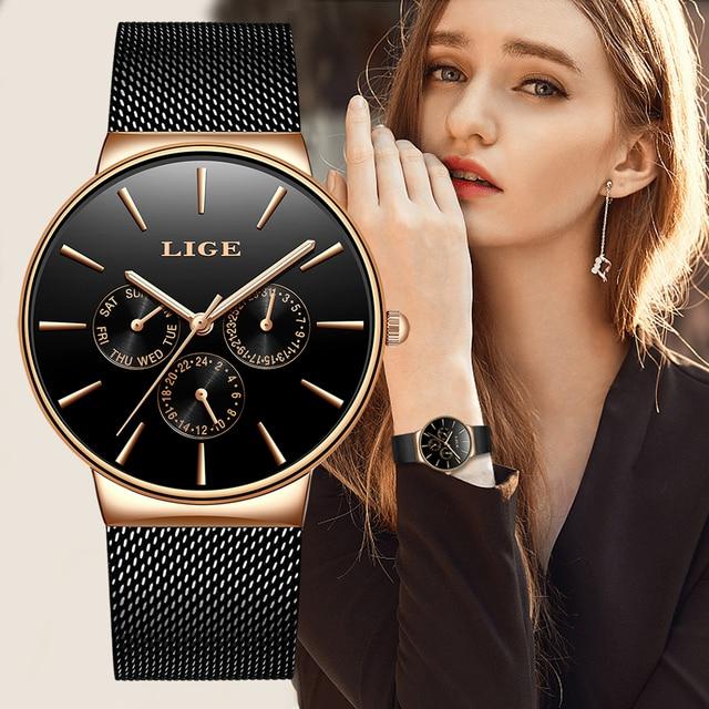 2019 클래식 여성 로즈 골드 톱 브랜드 럭셔리 Laides 드레스 비즈니스 캐주얼 방수 시계 쿼츠 캘린더 손목 시계