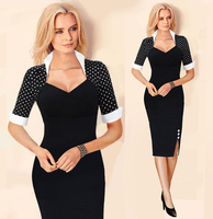 2015 Autumn New Fashion Women OL Polka Dot Dress Bodycon Sheath V Neck Patchwork Party Pencil