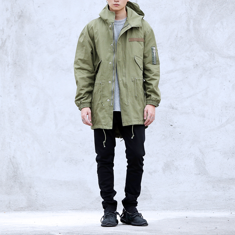 2017 high street warm GREEN Jacket Hip Hop Winter Jacket ...