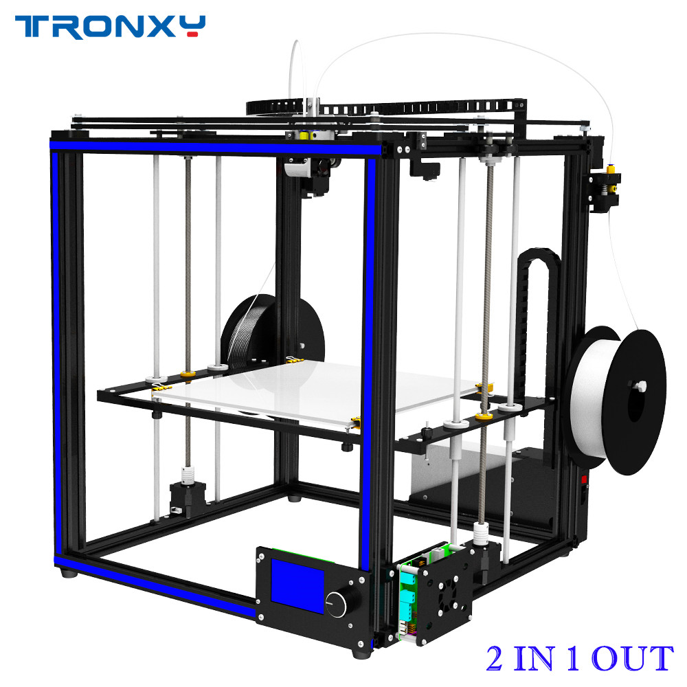 лучшая цена Tronxy Dual Extruder 2 in 1 out 3D Printer Multi color cyclops head DIY kits Nice Upgrade for two color gradients printing