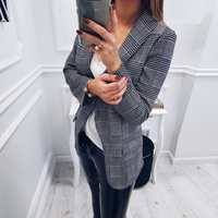 2018 New Style Fashion Autumn Womensexy Slim Plaid Jackets Short Coat Grey OL Suit Ladies Casual