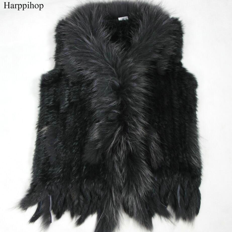 Harppihop livraison gratuite femmes naturel réel lapin fourrure gilet avec fourrure de raton laveur col gilet/vestes rex lapin tricoté winte - 3
