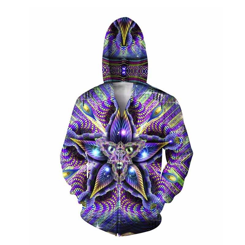 Zerebrale Mokasha Doppelseitige Hoodie psychedelic buntes geometrische formen 3d Druck Reißverschluss Sweatshirts Jumper Für Frauen Männer