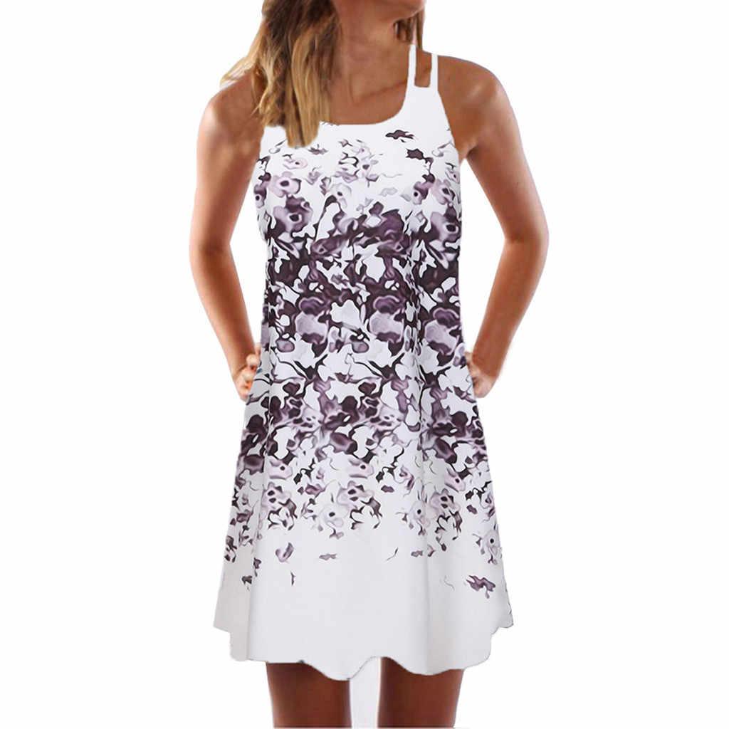 2019 винтажное Boho женское летнее платье без рукавов женское повседневное пляжное Короткое мини-платье с принтом женское свободное платье большого размера jurken